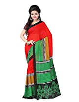 Yashika Exclusive Printed Red Faux Georgette Saree-SSTPDS123