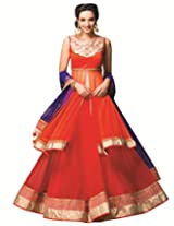 Meena Bazaar Womens Net Lehenga Choli (Mbaw27-S _Pink Orange _Small)