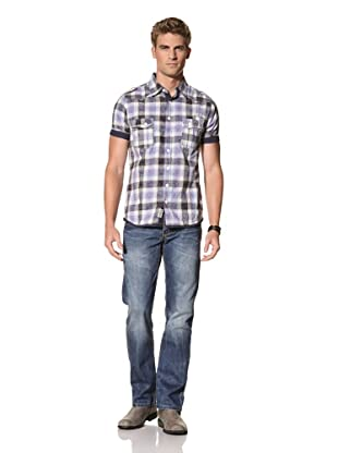 MOD Men's Short Sleeve Woven Shirt (Marine Off White)