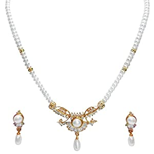 Trendy Souk Pearl Necklace With Stunning Pendant & Drop Earring Set (TRENDY32)