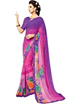 Pagli shaded purple with pink floral printed georgette saree with silk printed border