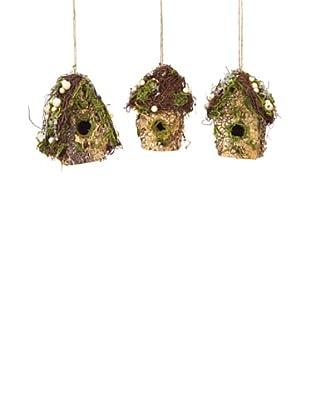 Melrose International Set of 3 Moss House Ornaments, Brown