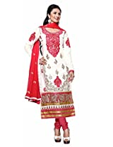 Khushali Fashion Women's Cotton Straight Dress Material (Mbt04 _White _Free Size)