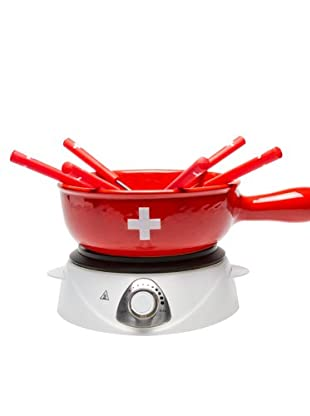 Trisa & Nouvel Elektro-Käse-Fondue-Set CH-Kreuz Limited Edition rot/weiß