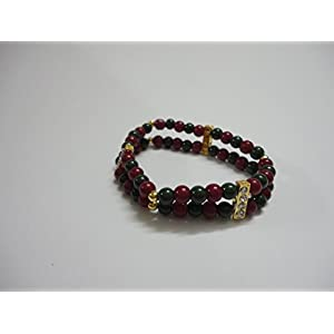 Mona Jewels Red & Green Beads Bracelet