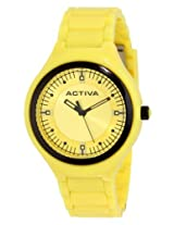 Activa By Invicta Unisex Aa200-005 Yellow Silver Dial Yellow Plastic Watch - Aa200-005