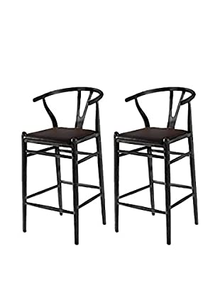 Manhattan Living Set of 2 Woodstring Bar Stools, Black