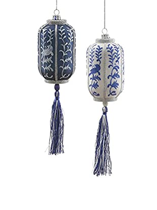 Winward Set of 2 Handcrafted Chinese Lantern Ornaments, Blue/White