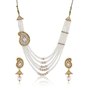 Shining Diva Celebrity Inspired Five String Pearl Necklace Set For Women