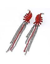 Kalaplanet Spiritual Red Diamond Decorated Tassel Design Alloy Stud Earrings