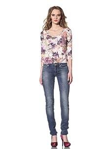 Just Cavalli Women's White Diamond Slim Leg Jean (Denim)