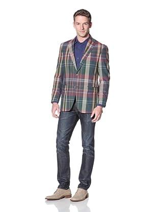 Hart Schaffner Marx Men's Plaid Notch Lapel Sportcoat (Blue Multicolor)