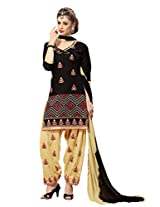 Suchi Fashion Black & Beige Cotton Embroidered Patiyala Suit Dress Material