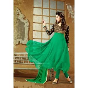 Khantil SS170-4003 Embroidered Anarkai Suit - Green