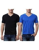 TeeMoods Pack of Two Men's V Neck Tshirts-Black n Blue_TM-C-1549BLK-BLU-S
