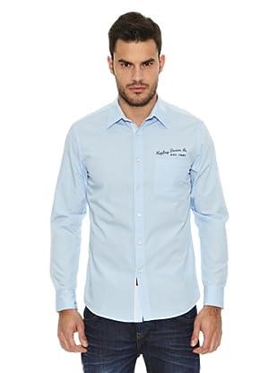 Replay Camisa Lisa Logos (Azul)