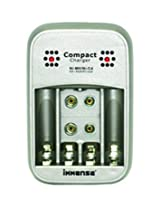 Immense Compact Battery Charger, Charges 2/4 pcs AA/AAA NI-MH/NI-CD, 1/2 pcs 9V rechargeable batteries