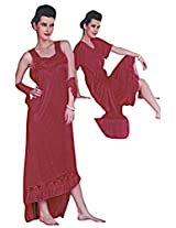 Indiatrendzs Honeymoon Nightwear Freesize Women's Red Sexy Hot Nighty 2pc Set