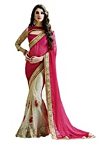 Shreenathji Enterprise Designer Pink and White Georgette and Net Saree (105897_ Pink )