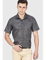 Black Striped Slim Fit Formal Shirt Copperline