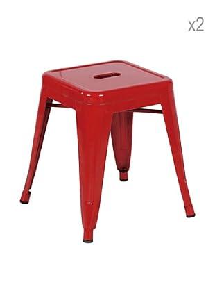 Lo+deModa Set De 2 Taburetes Metal Ural Rojo