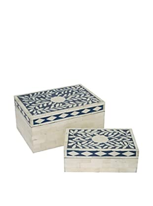 Three Hands Set of 2 Wood Boxes, Blue And White