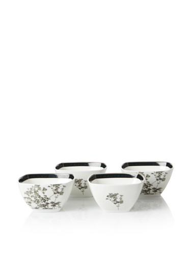 Noritake Set of 4 Everyday Elegance Verdena Small Square Bowls, Platinum, 10-Oz.