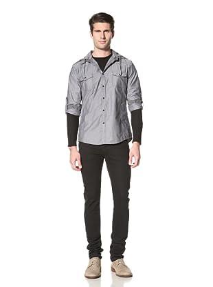 Dorsia Men's Logan Chambray Shirt with Hood (Blue)