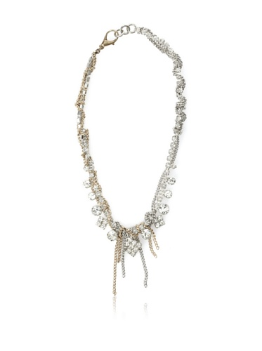 Lulu Frost 1930's Art Deco Crystal & Chain Necklace, Gold/Silver