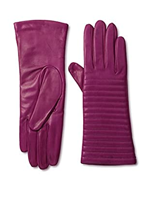 Portolano Women's Cashmere Lined Rib Trim Leather Gloves (Hot Pink)