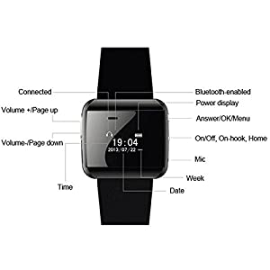 2S New Hands-free Calls Message Remind Remote Control Phone OLED Wearable Music Sport Bluetooth 2.1 Bracelet Smart Watch - 2 Color