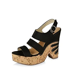 Solid Black Colored Triangle Cut Trendy Wedges For Women by 9 to Five - Size 36