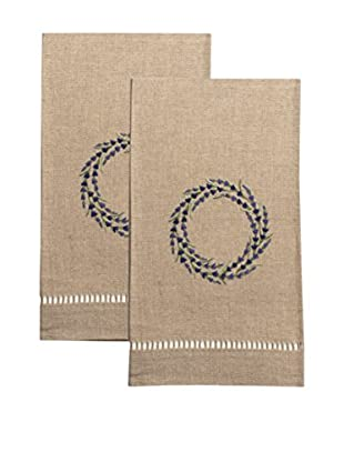 Henry Handwork Set of 2 Lavender Wreath Embroidered Hand Towels, Natural