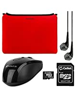 VanGoddy Smart Sleeves for Toshiba 14-inch Laptops & Ultrabooks + Headphones + USB Mouse + 16GB Memory Card (Red)