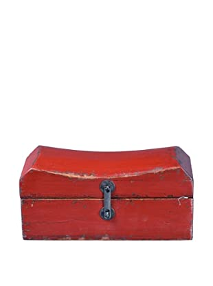 Antique Revival Wooden Pillow-Case Box, Red