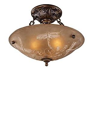 Artistic Lighting Restoration 3-Light Dragonfly Semi-Flush Mount, Golden Bronze
