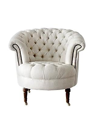 Melange Home Linen Barrel Chair, White