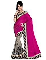 Pick Attire Women's Bhagalpuri Art Silk Saree,With Blouse (PS51-VBK117_Pink)