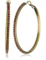 "Liz Palacios ""Arco Iris"" Swarovski Elements Fuschia Crystal Hoop Earrings"