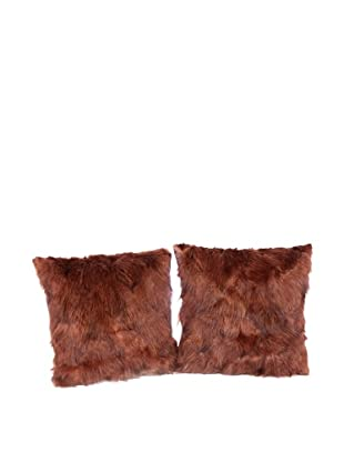 Pair of Upcycled Red Fox Pillows, Brown, 18