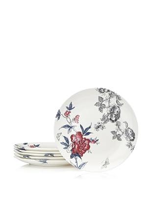 Elinno Set of 6 Rose Garden Plates, White/Multi, 8