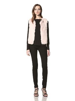 525 America Women's Rabbit Fur Open Vest (Shell Pink)