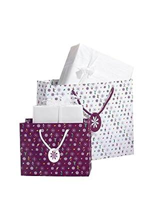 Unicef Set, 2-teilig Geschenktüten weiß/violett