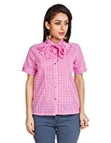 Zovi Cotton Pink Checkered Top With Tie-up At Neck (10544451701_Small)