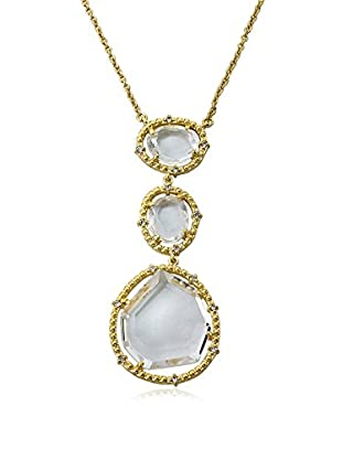 Riccova Sliced Glass Triple Drop Pendant Necklace with CZs