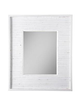 Matahari Handmade Wood Mirror, White Stripe Rustic
