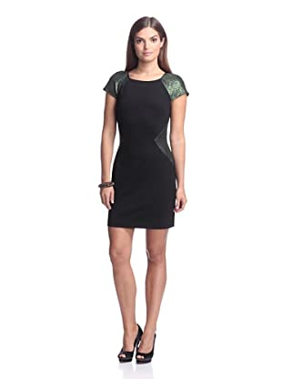 Erin Fetherston Women's Eliane Ponte Dress with Metallic Detail (Evergreen/Black)