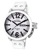Men'S Ceo Canteen White Mother Of Pearl Dial White Leather (Ce1038)