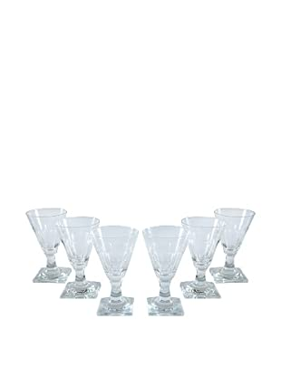Set of 6 Square Base Sherry Glasses, Clear