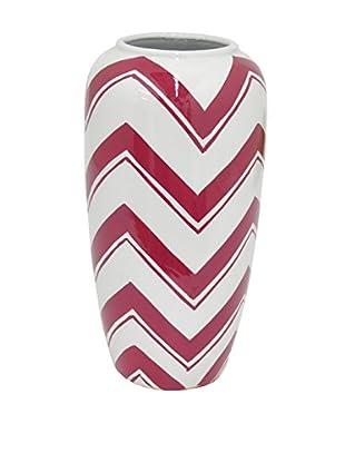 Three Hands Small & Wide Chevron Ceramic Vase, Red/White